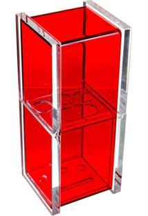 Porta Escova De Dentes Com Tampa Quadrado Vermelho
