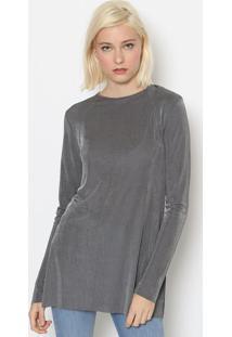 Blusa Lisa Com Tag & Recortes - Cinzacalvin Klein