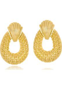 Brinco Le Diamond Concha E Textura Dourado - Kanui