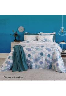 Jogo De Cama Home Design Queen Size- Branco & Azul Escursantista