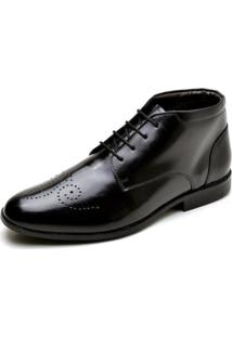 Sapato Social Couro Lux Reta Oposta Masculino - Masculino-Preto