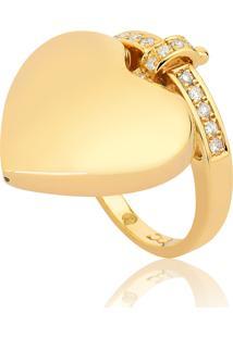 Anel De Ouro 18K De Coração Com Diamantes.