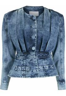 Andrea Bogosian Jaqueta Jeans Plissada - Azul