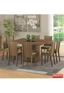 Mesa De Jantar 8 Lugares Clarice Rustic/Bege/Marrom - Madesa Móveis