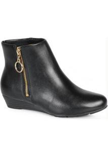 Ankle Boots Feminina Conforto Argola Preto Preto