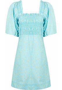 Ganni Vestido Com Estampa Floral - Azul