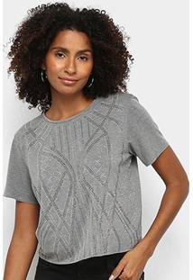 Camiseta Triton Básica Com Aplicação Feminina - Feminino-Mescla Escuro