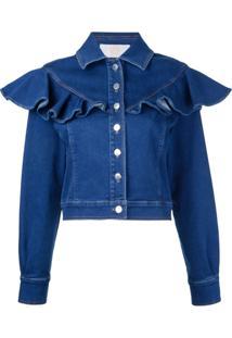 Sara Battaglia Jaqueta Jeans Com Babado - Azul