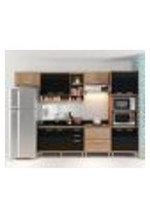 Cozinha Compacta - Aéreos, Armário Para Forno/Micro-Ondas E Balcões Para Pia/Cooktop - Argila/Preto