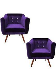 Kit 02 Poltronas Julia Cadeira Decorativa Suede Acetinado Roxo Strass - Drossi