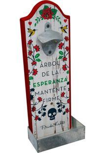 Abridor De Garrafa Branco Em Madeira Frida Kahlo Urban