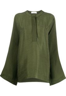 Áeron Plain Oversized Blouse - Verde