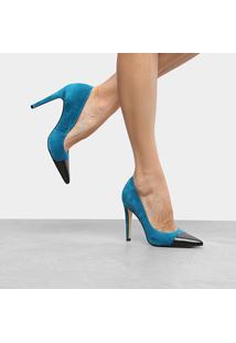 Scarpin Couro Luiza Barcelos Salto Alto Bicolor - Feminino-Azul+Preto