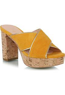 Sandália Salto Grosso Em Camurça Amarela Com Tiras Cruzadas