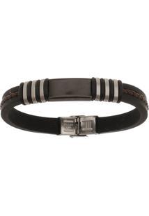 Bracelete De Aço Inox Tudo Jóias Com Silicone 11Mm De Largura Black