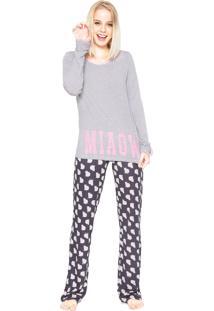 Pijama Any Any Meow Cats Cinza/Azul