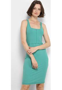 Vestido Colcci Midi Canelado - Feminino-Verde Claro