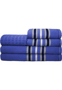 Jogo De Banho Stella 5 Peã§As 100% Algodã£O Azul - Multicolorido - Dafiti