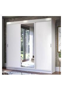 Guarda-Roupa Casal Madesa Istambul 3 Portas De Correr Com Espelho 3 Gavetas - Branco Branco