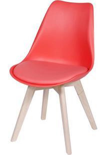 Cadeira Eames Leda 1108 Vermelha Base Madeira - 32071 - Sun House