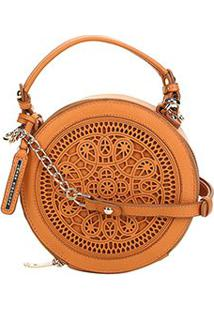 Bolsa Couro Jorge Bischoff Mini Bag Recorte Laser Feminina - Feminino-Caramelo
