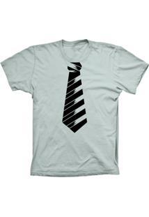 Camiseta Lu Geek Manga Curta Gravata Social Prata