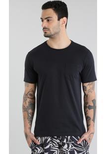 Camiseta Básica Com Bolso Preta