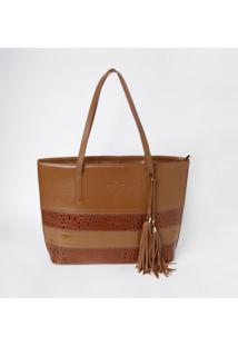 Bolsa Em Couro Recortes & Bag Charm- Marrom Claro & Marredu Bolsas