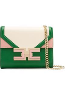Elisabetta Franchi Colour Block Shoulder Bag - Verde