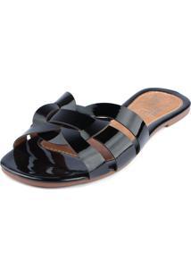 Rasteira Trivalle Shoes Verniz Preta