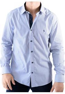 Camisa Zimpool Social Slim Fit Manga Longa Azul