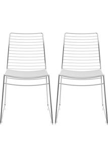 Kit Com 2 Cadeiras Nicole Cromada Couríssimo Branco - Carraro