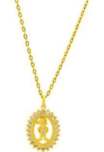 Gargantilha Horus Import Boy Cravejado Zircônia Banhada 18 K - 1061170 Horus Import Feminina - Feminino-Dourado