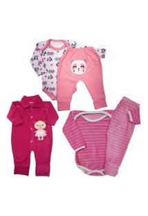 Bebê Lindo Enxoval Maternidade Kit 5 Pçs Conjunto Body Mijão Rosa