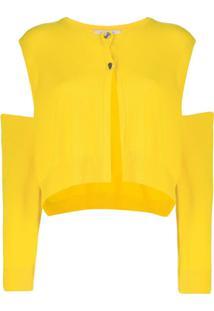 Dorothee Schumacher Cardigan Com Detalhe Vazado - Amarelo