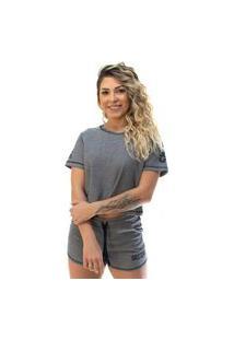 Camiseta Cropped Shatark Mystic - Preto Mescla