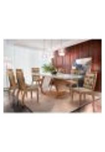 Conjunto De Mesa De Jantar Alvorada Com Vidro E 6 Cadeiras Tamara Suede Chocolate E Off White