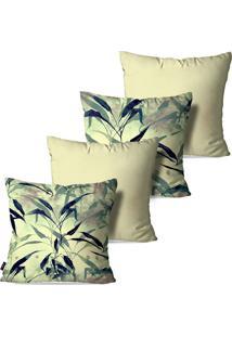 Kit Com 4 Capas Para Almofadas Pump Up Decorativas Folhas Verdes Fundo Bege 45X45Cm
