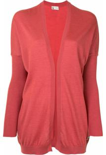 Colombo Open Front Rib-Trimmed Cardigan - Rosa