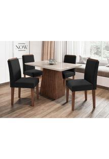 Conjunto De Mesa De Jantar Com Tampo De Vidro Jasmin E 4 Cadeiras Ana I Veludo Off White E Preto