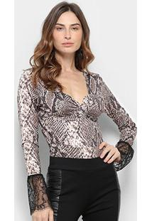 Body Road Mel Animal Print Snake - Feminino-Bege+Preto