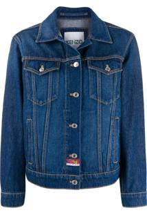Kenzo Embroidered Denim Jacket - Azul