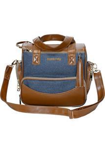 Bolsa Aspen- Marrom Claro & Azul Escuro- 33X28X7Cm