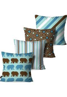 Kit Com 4 Capas Para Almofadas Pump Up Decorativas Infantil Azul Elefante Vintage 45X45Cm