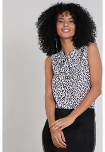 Regata Feminina Estampada Animal Print Gola Laço Off White