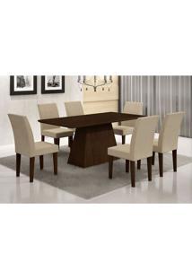 Conjunto De Mesa De Jantar Luna Com 6 Cadeiras Grécia Veludo Castor E Creme 180 Cm