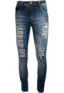 Calça Jeans Knt Skinny Rasgados - Masculino-Azul