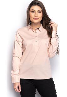 Camisa Camisete Social Feminina Lisa Manga Longa Casual