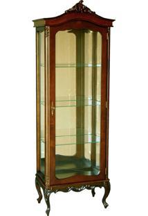 Cristaleira Forli Vitrine 1 Porta Entalhada Madeira Maciça Design Clássico