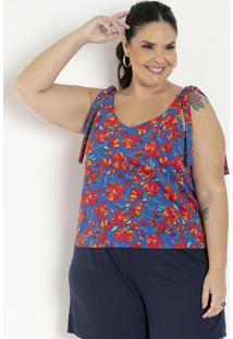 Blusa Floral Com Alças Para Amarrar Plus Size